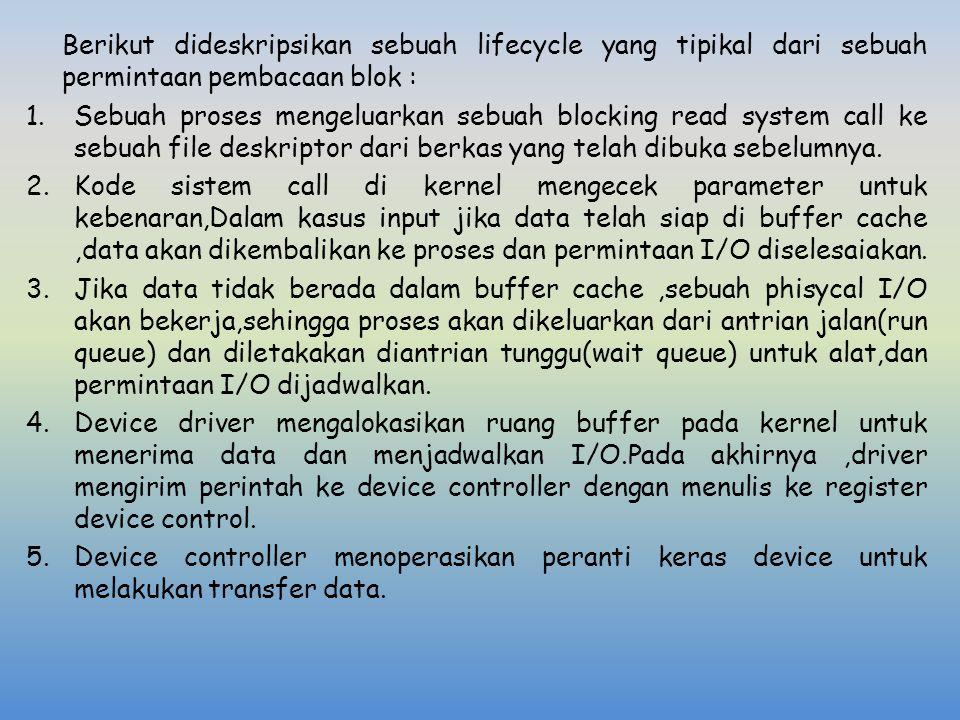 Berikut dideskripsikan sebuah lifecycle yang tipikal dari sebuah permintaan pembacaan blok :