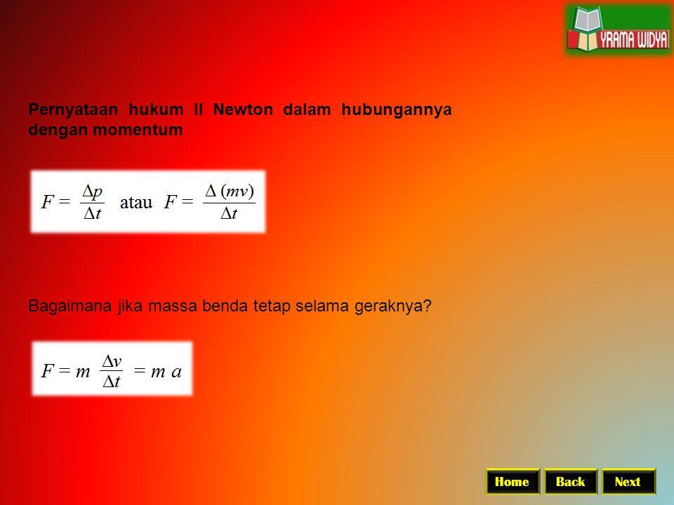 Pernyataan hukum II Newton dalam hubungannya dengan momentum