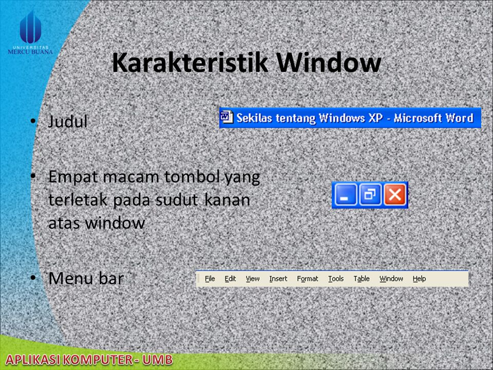 Karakteristik Window Judul