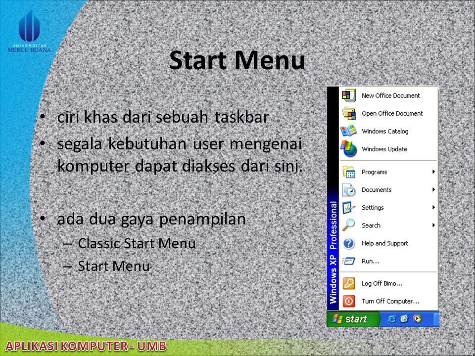 Start Menu ciri khas dari sebuah taskbar