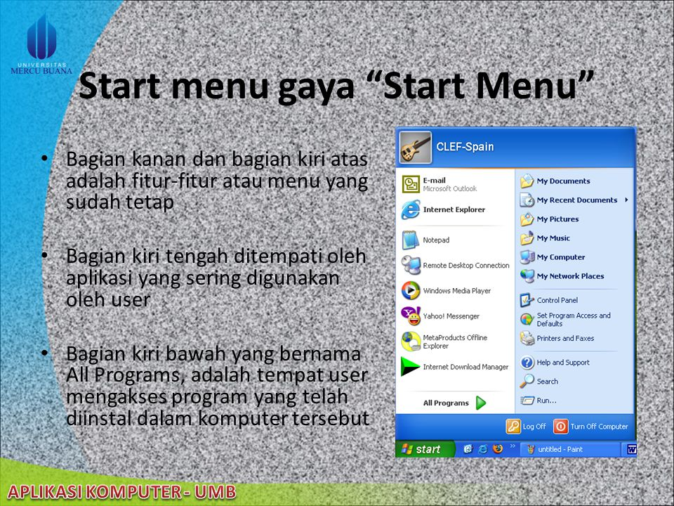 Start menu gaya Start Menu