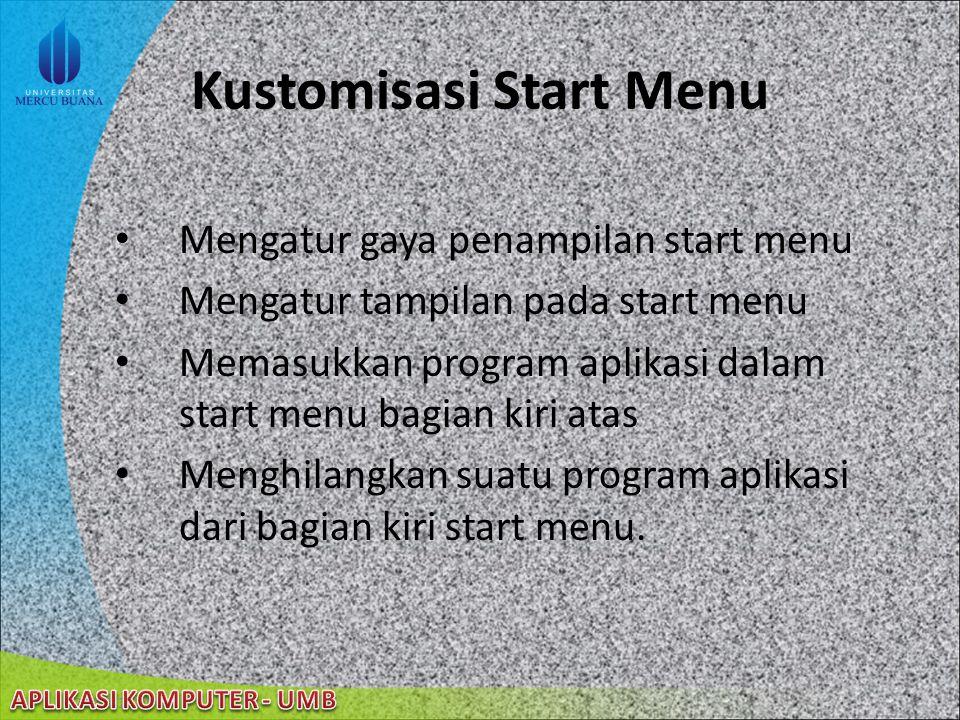 Kustomisasi Start Menu
