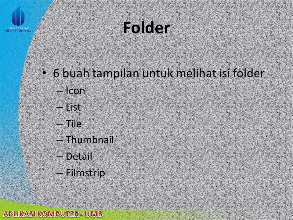 Folder 6 buah tampilan untuk melihat isi folder Icon List Tile