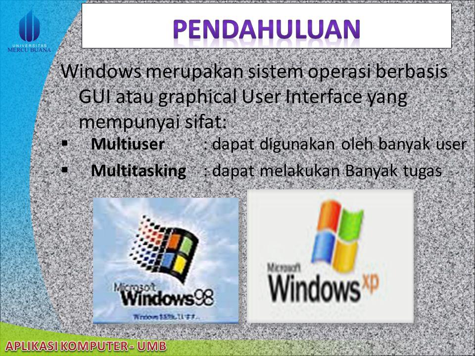 pendahuluan Windows merupakan sistem operasi berbasis GUI atau graphical User Interface yang mempunyai sifat: