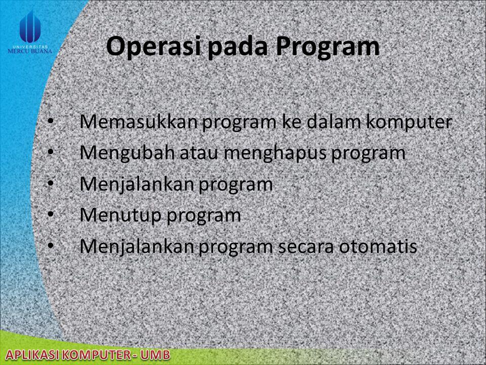 Operasi pada Program Memasukkan program ke dalam komputer