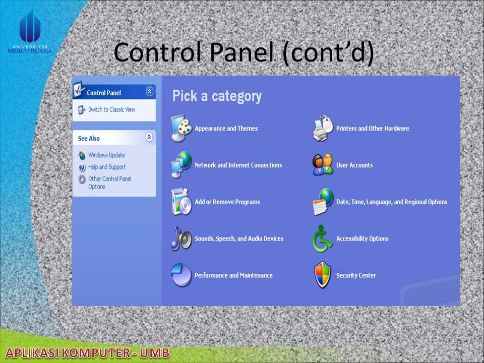 Control Panel (cont'd)