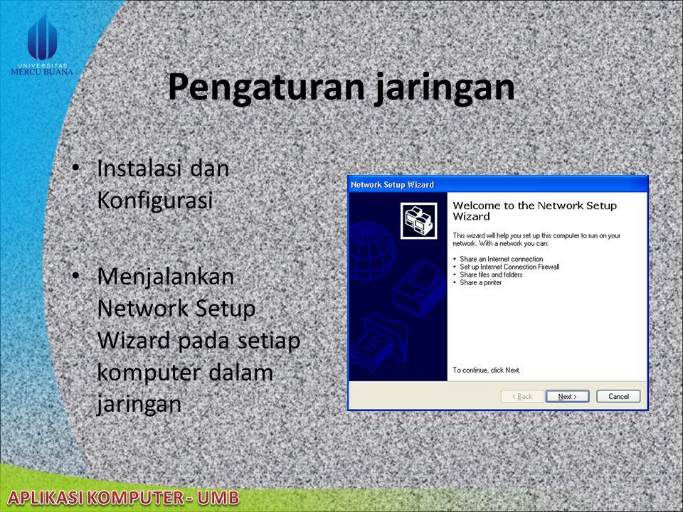 Pengaturan jaringan Instalasi dan Konfigurasi