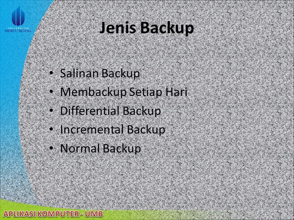 Jenis Backup Salinan Backup Membackup Setiap Hari Differential Backup