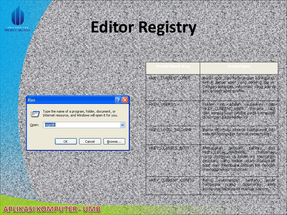 Editor Registry Predefined Key Deskrispsi HKEY_CURRENT_USER