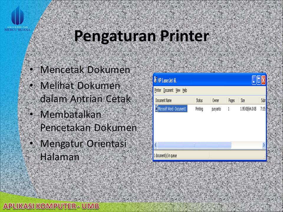 Pengaturan Printer Mencetak Dokumen