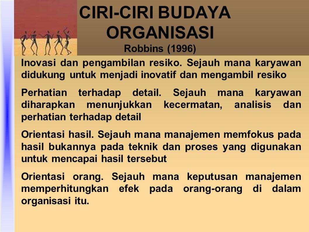 CIRI-CIRI BUDAYA ORGANISASI Robbins (1996)