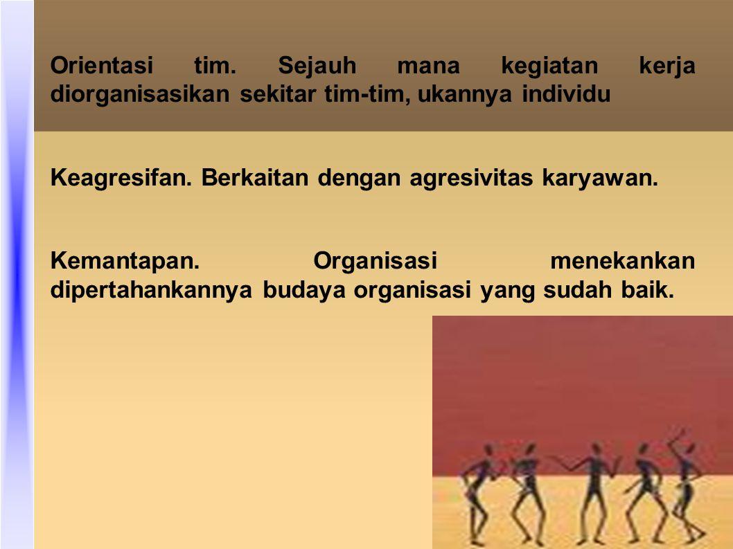 Orientasi tim. Sejauh mana kegiatan kerja diorganisasikan sekitar tim-tim, ukannya individu