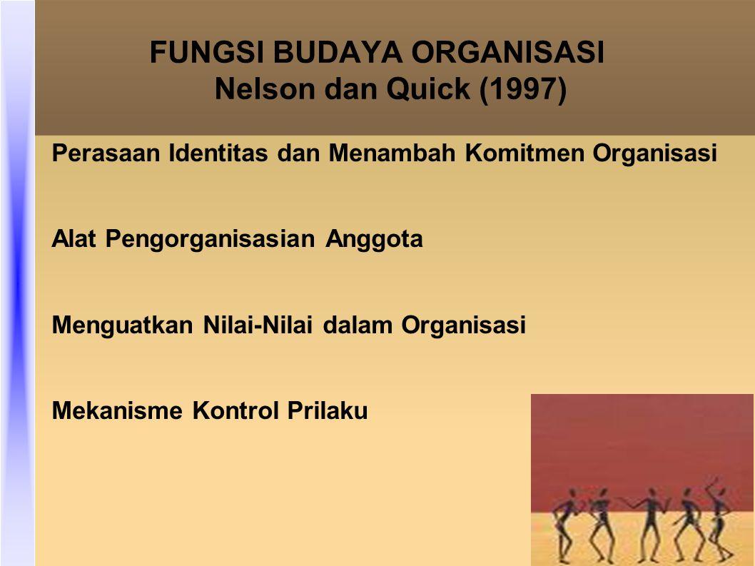 FUNGSI BUDAYA ORGANISASI Nelson dan Quick (1997)