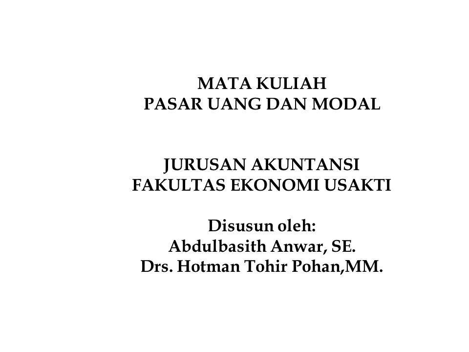 FAKULTAS EKONOMI USAKTI Drs. Hotman Tohir Pohan,MM.