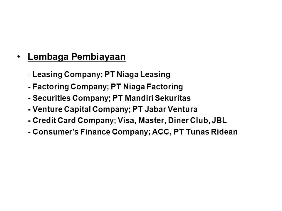- Leasing Company; PT Niaga Leasing