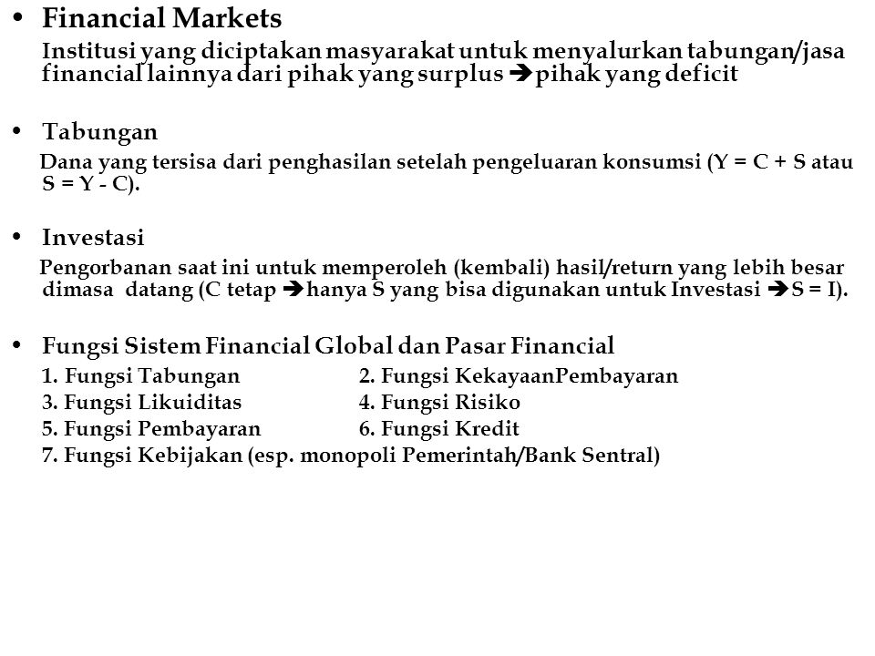 Financial Markets Tabungan