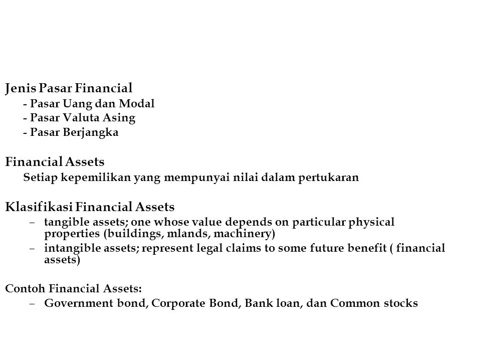 Klasifikasi Financial Assets