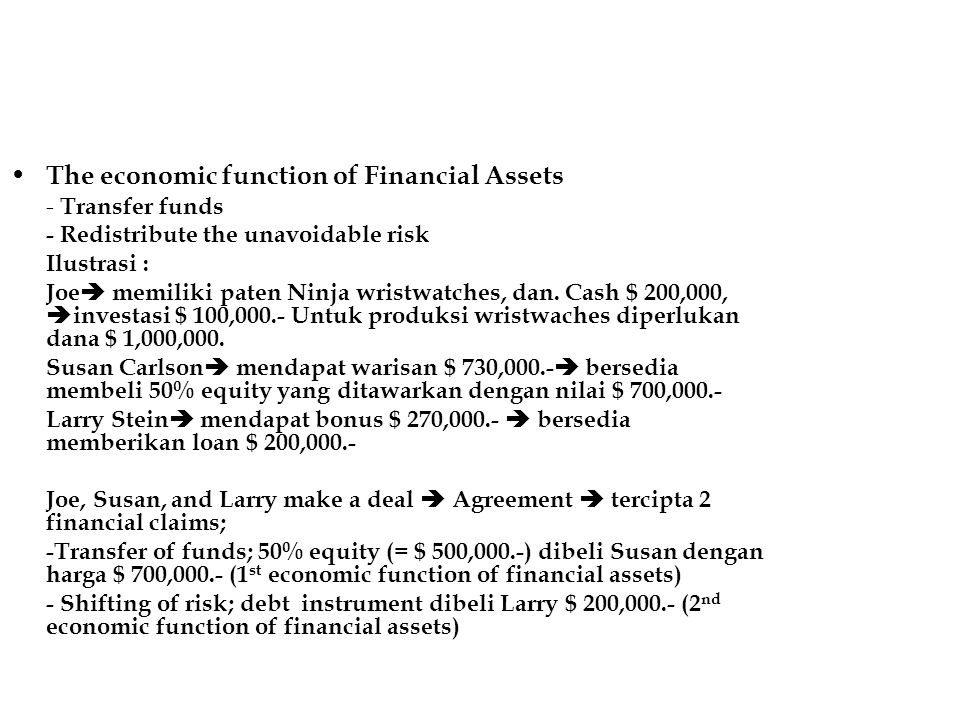The economic function of Financial Assets