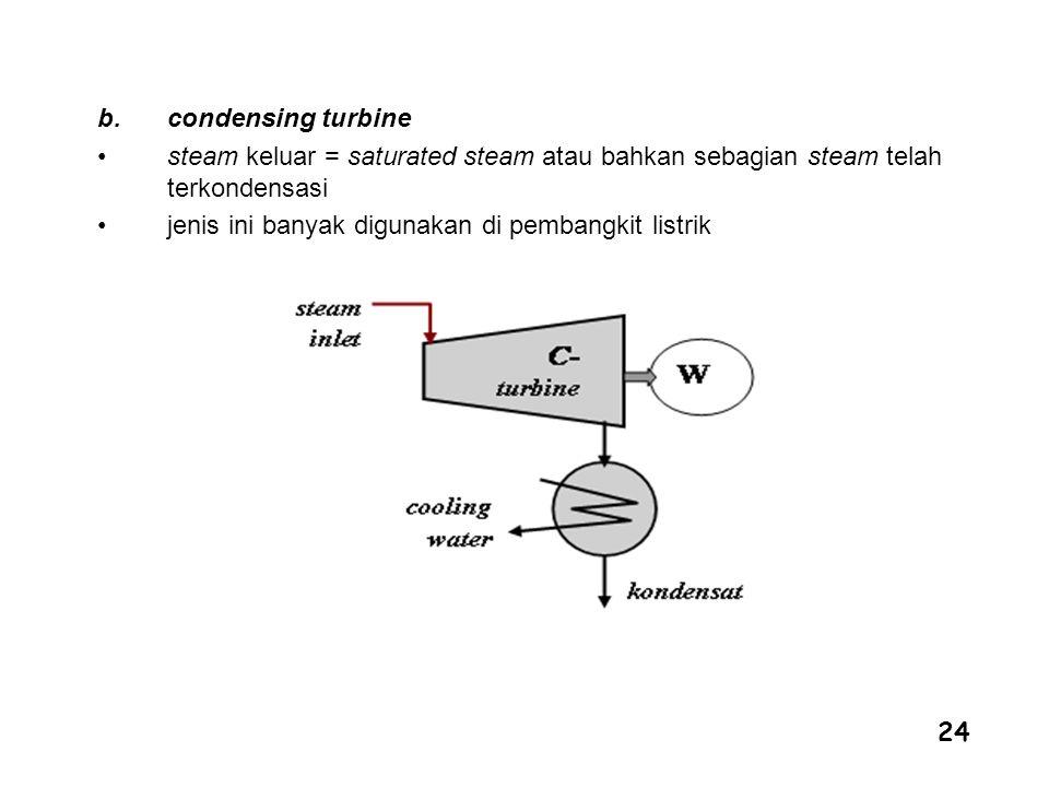 condensing turbine steam keluar = saturated steam atau bahkan sebagian steam telah terkondensasi.