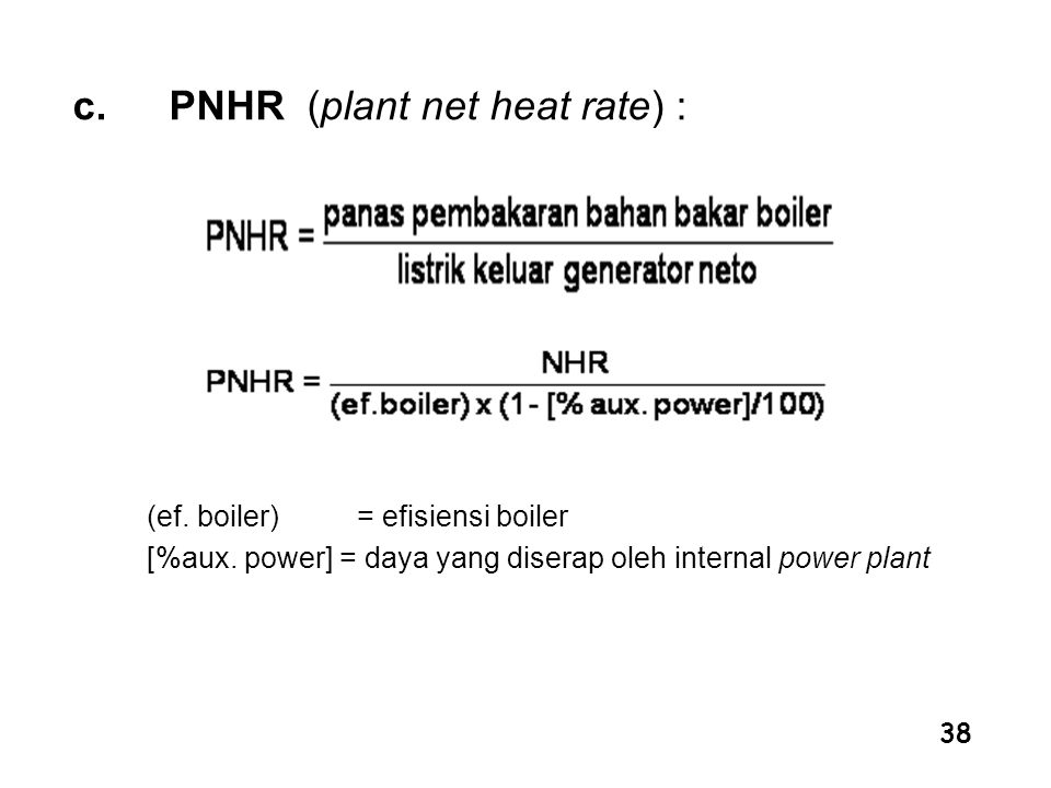PNHR (plant net heat rate) :