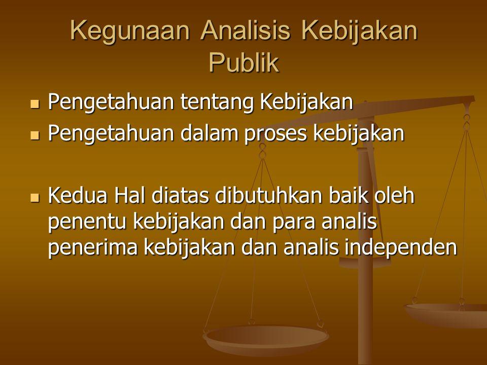 Kegunaan Analisis Kebijakan Publik
