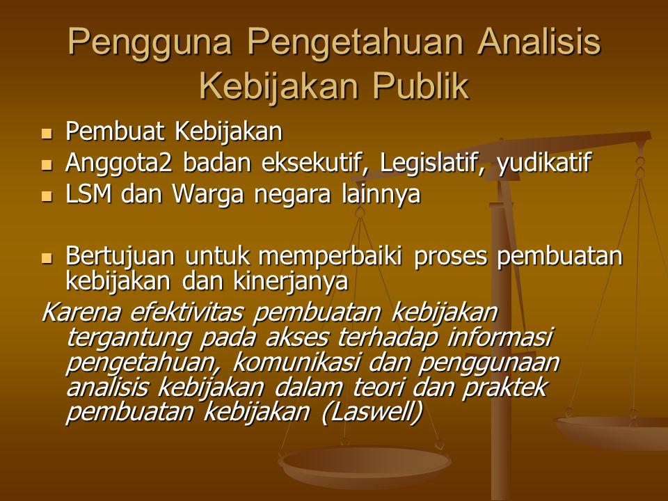 Pengguna Pengetahuan Analisis Kebijakan Publik