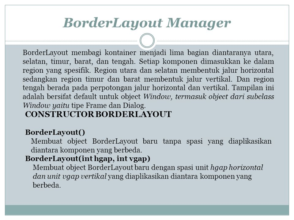 BorderLayout Manager CONSTRUCTOR BORDERLAYOUT