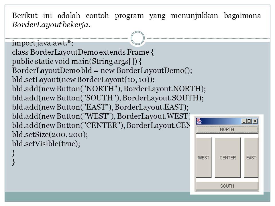 Berikut ini adalah contoh program yang menunjukkan bagaimana BorderLayout bekerja.