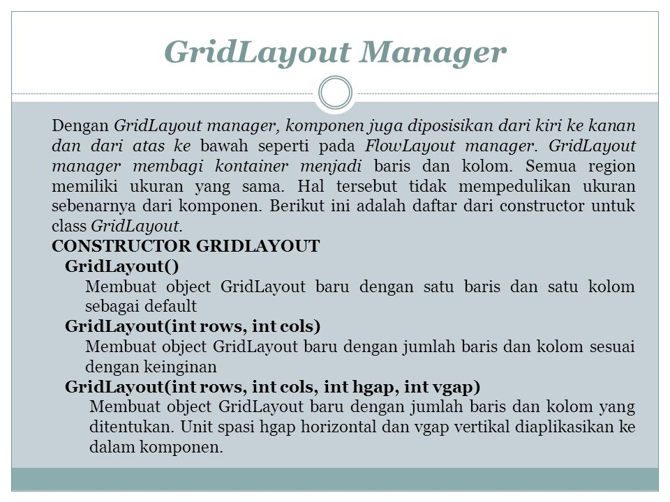 GridLayout Manager