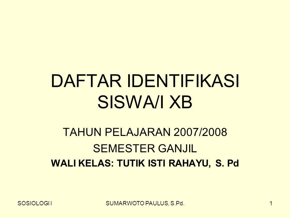 DAFTAR IDENTIFIKASI SISWA/I XB