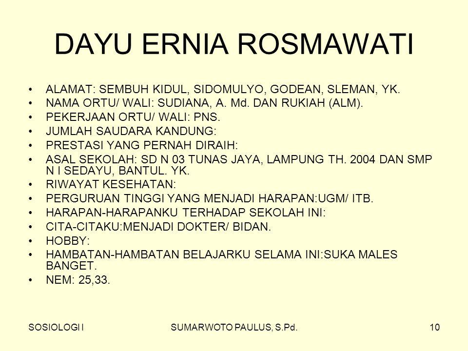 DAYU ERNIA ROSMAWATI ALAMAT: SEMBUH KIDUL, SIDOMULYO, GODEAN, SLEMAN, YK. NAMA ORTU/ WALI: SUDIANA, A. Md. DAN RUKIAH (ALM).