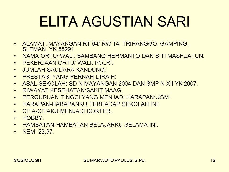 ELITA AGUSTIAN SARI ALAMAT: MAYANGAN RT 04/ RW 14, TRIHANGGO, GAMPING, SLEMAN, YK 55291. NAMA ORTU/ WALI: BAMBANG HERMANTO DAN SITI MASFUATUN.