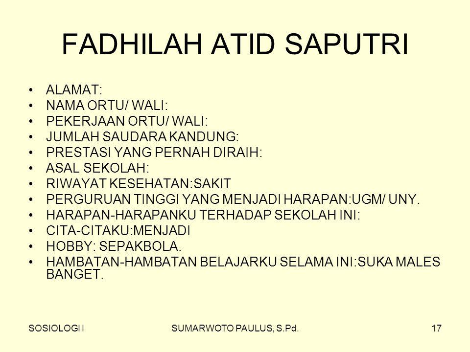FADHILAH ATID SAPUTRI ALAMAT: NAMA ORTU/ WALI: PEKERJAAN ORTU/ WALI: