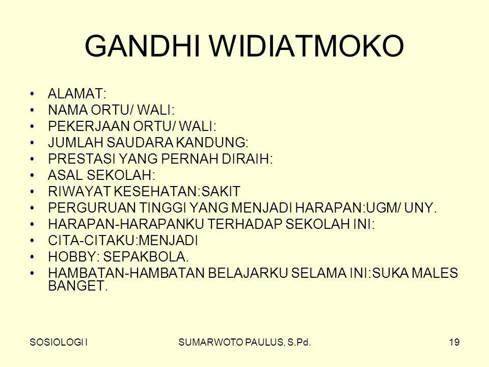 GANDHI WIDIATMOKO ALAMAT: NAMA ORTU/ WALI: PEKERJAAN ORTU/ WALI: