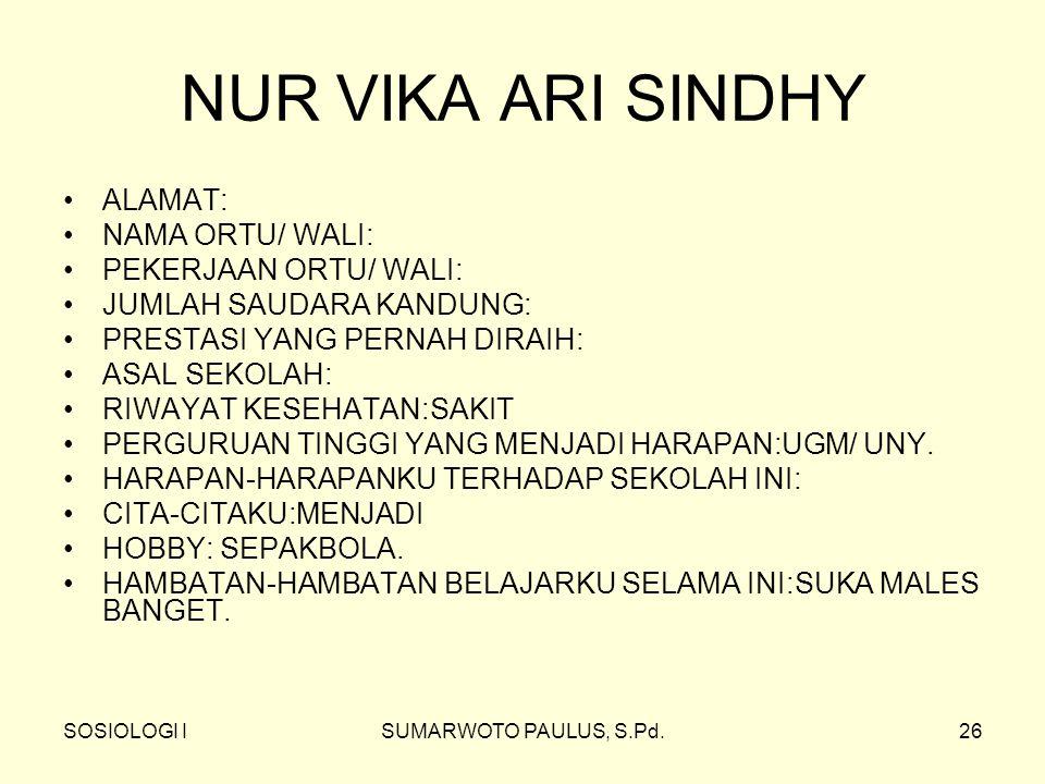 NUR VIKA ARI SINDHY ALAMAT: NAMA ORTU/ WALI: PEKERJAAN ORTU/ WALI: