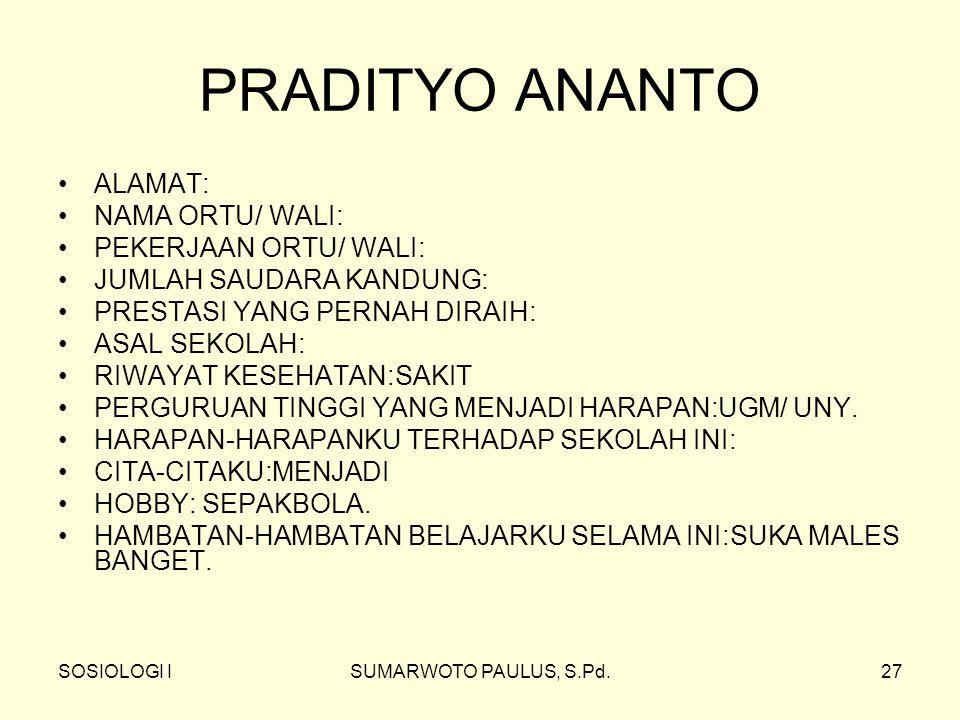 PRADITYO ANANTO ALAMAT: NAMA ORTU/ WALI: PEKERJAAN ORTU/ WALI:
