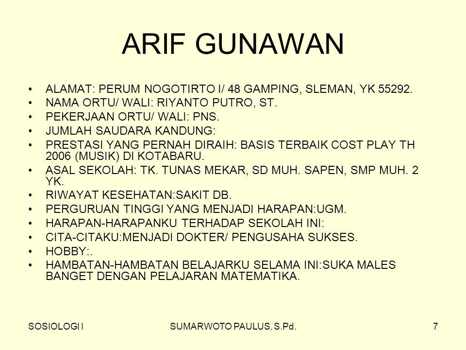 ARIF GUNAWAN ALAMAT: PERUM NOGOTIRTO I/ 48 GAMPING, SLEMAN, YK 55292.