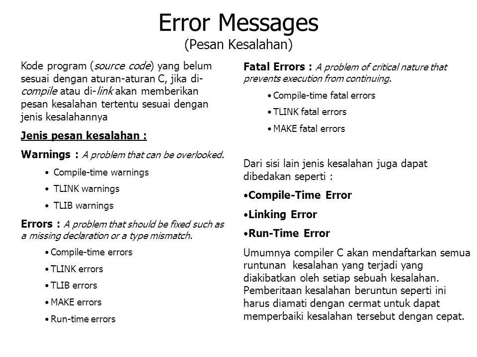 Error Messages (Pesan Kesalahan)
