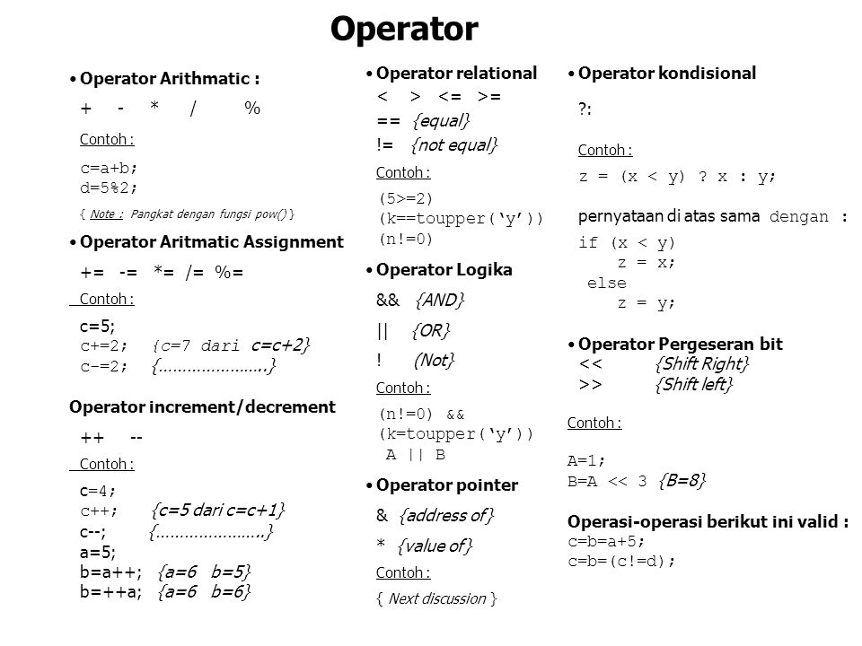 Operator Operator Arithmatic : + - * / % Contoh : c=a+b; d=5%2;