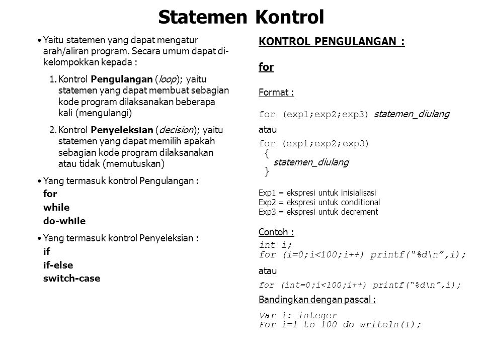 Statemen Kontrol KONTROL PENGULANGAN : for