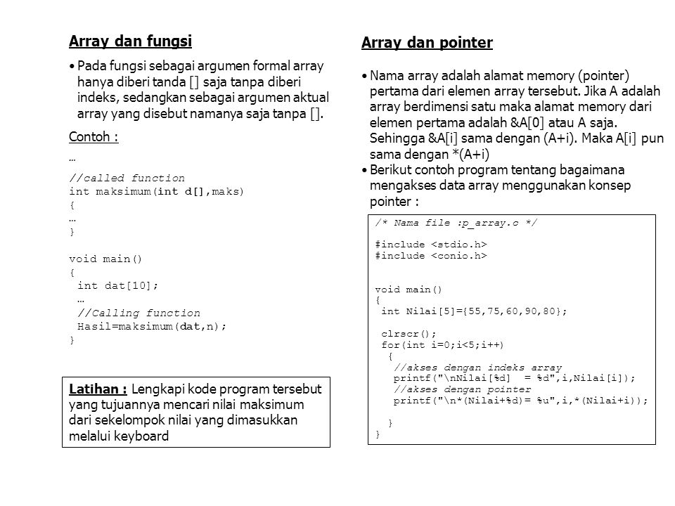 Array dan fungsi Array dan pointer