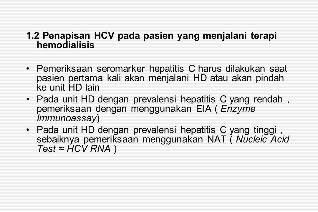 1.2 Penapisan HCV pada pasien yang menjalani terapi hemodialisis