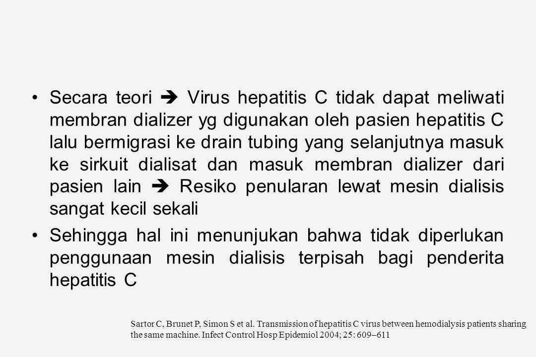 Secara teori  Virus hepatitis C tidak dapat meliwati membran dializer yg digunakan oleh pasien hepatitis C lalu bermigrasi ke drain tubing yang selanjutnya masuk ke sirkuit dialisat dan masuk membran dializer dari pasien lain  Resiko penularan lewat mesin dialisis sangat kecil sekali