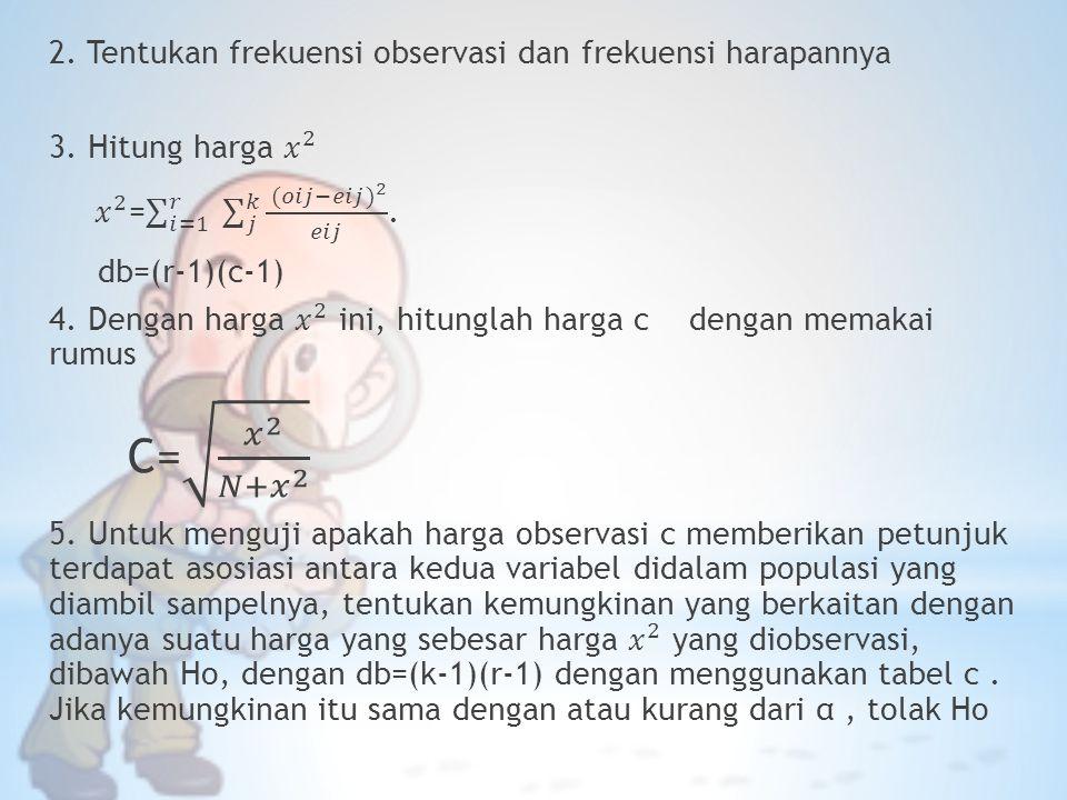 2. Tentukan frekuensi observasi dan frekuensi harapannya 3