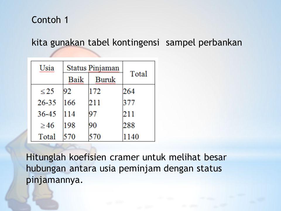 Contoh 1 kita gunakan tabel kontingensi sampel perbankan.