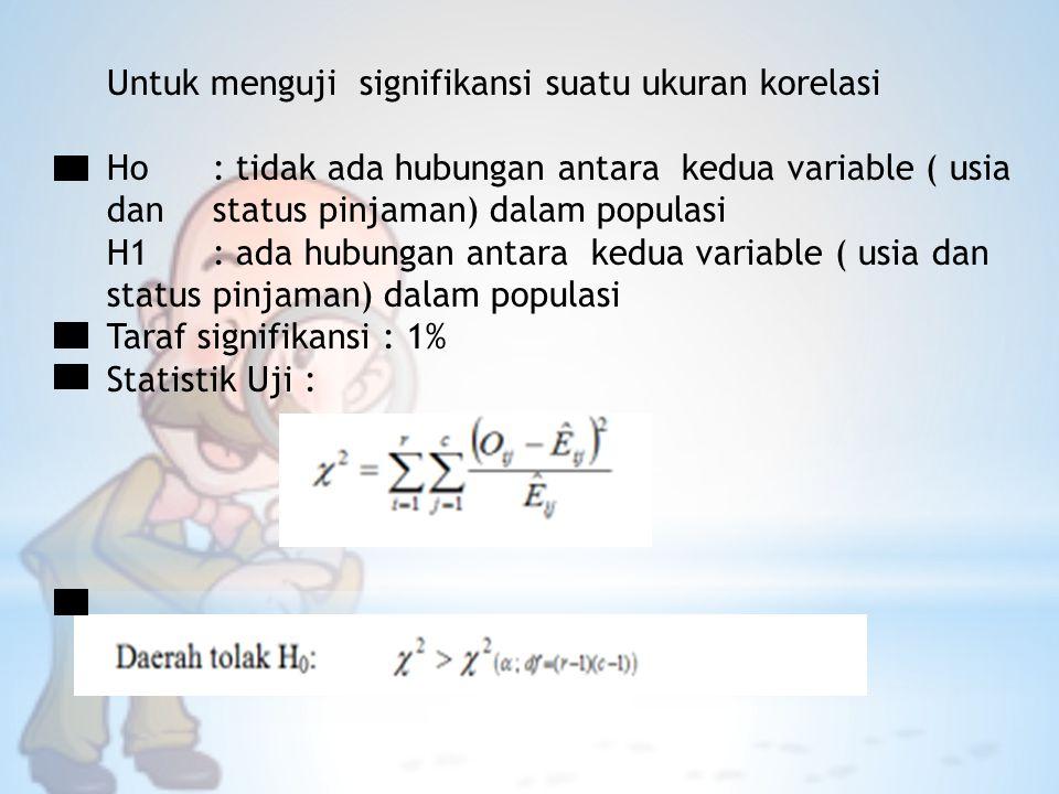Untuk menguji signifikansi suatu ukuran korelasi