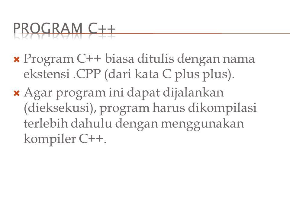 Program C++ Program C++ biasa ditulis dengan nama ekstensi .CPP (dari kata C plus plus).