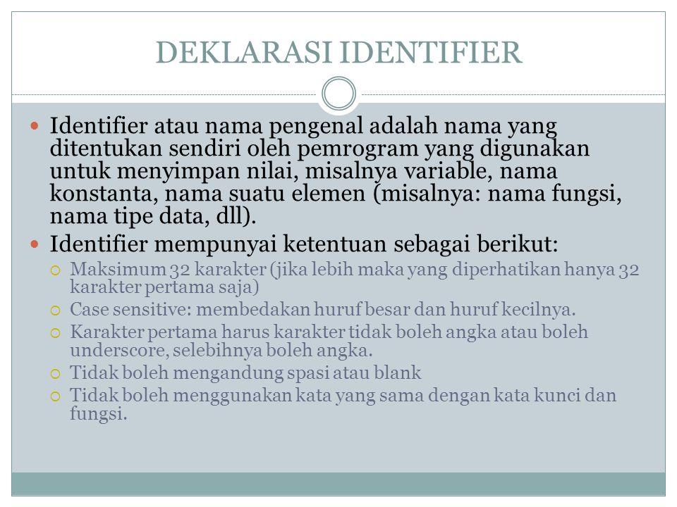 DEKLARASI IDENTIFIER
