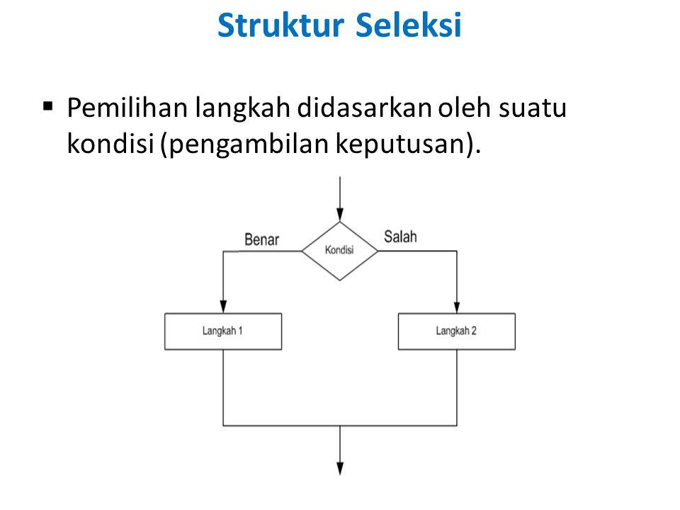 Struktur Seleksi Pemilihan langkah didasarkan oleh suatu kondisi (pengambilan keputusan).