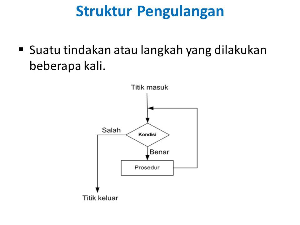 Struktur Pengulangan Suatu tindakan atau langkah yang dilakukan beberapa kali.
